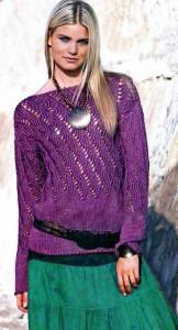 лиловый пуловер с узором вееры