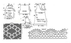 схема и выкройка белый ажурный сарафан и болеро