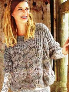 Свободный пуловер с узором крупные листья - Связано всё....!